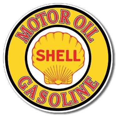 Shell Gas & Oil Round - plechová retro cedule, prům. 30cm
