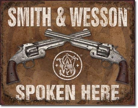 S&W Spoken Here - plechová retro cedule 40x32 cm