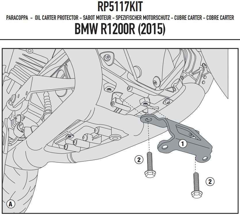 BMW R 1200 R /RS (15-) - RP5117KIT sada pro upevnění krytu motor