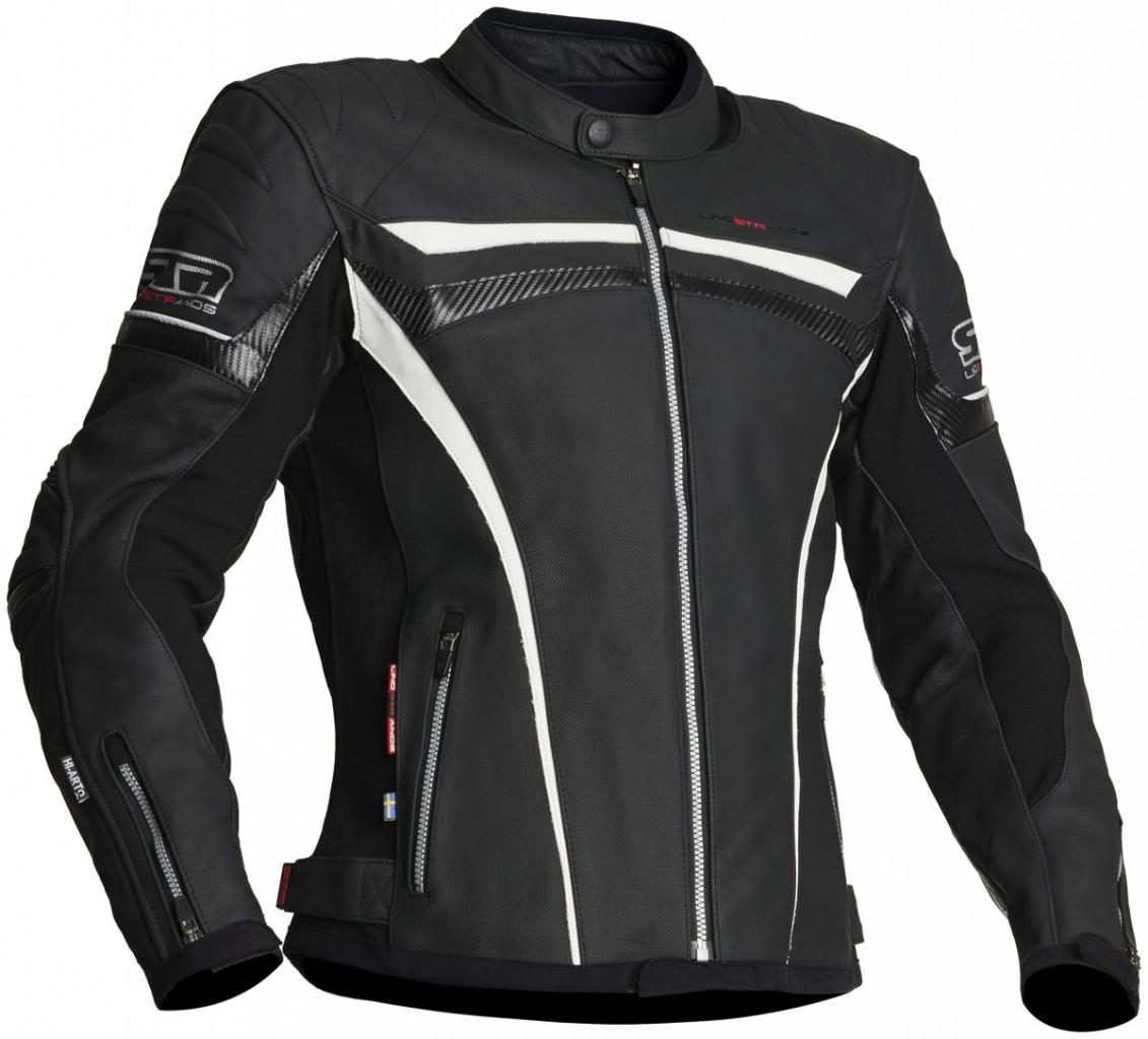 Lindstrands Chrome pánská kožená bunda, černá / bílá / karbon