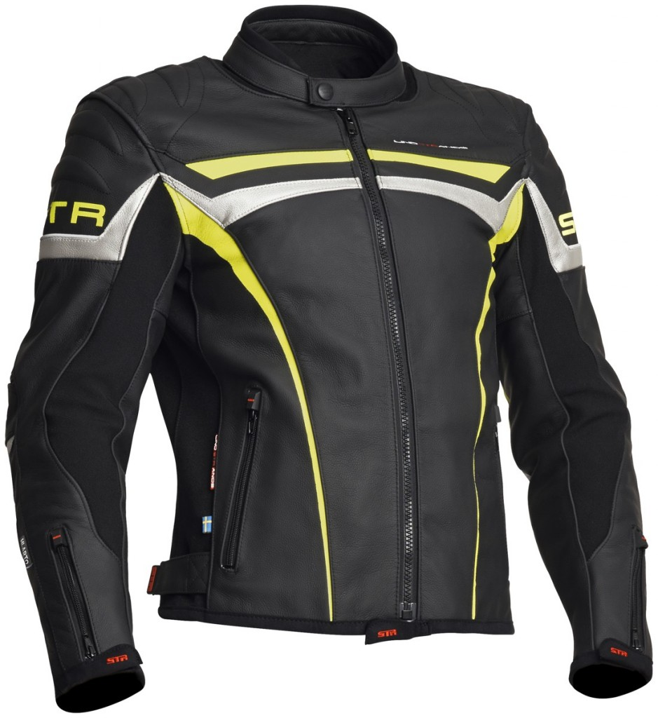 Lindstrands Chrome pánská kožená bunda, černá / žlutá / stříbrná