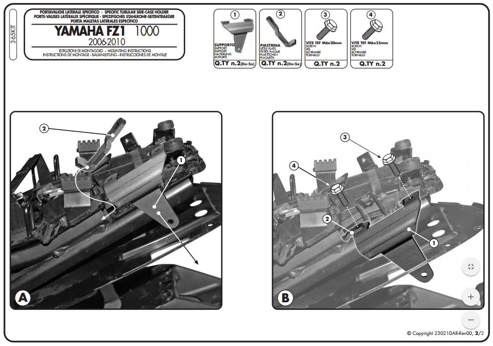 Yamaha FZ1 1000 (06-) - sada pro montáž PLX a PLXR bez Monoracku