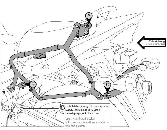 Suzuki GSF 1250 (07-09) - boční nosič SW-Motech pro kufr Givi V3