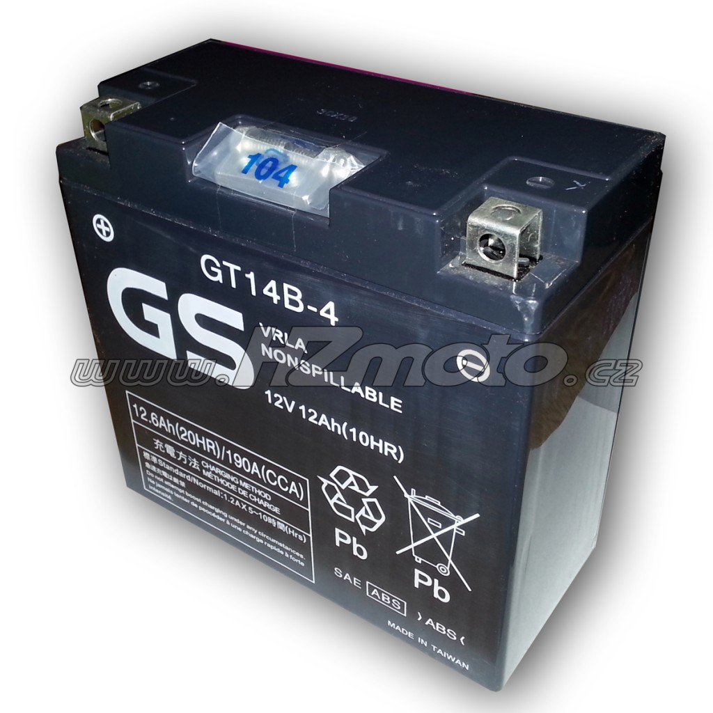 Motobaterie GS Batteries GT14B-4 12V 12Ah , Yamaha Genuine