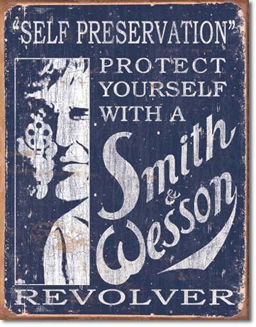 S&W - Self Preservation - plechová retro cedule 40x32 cm