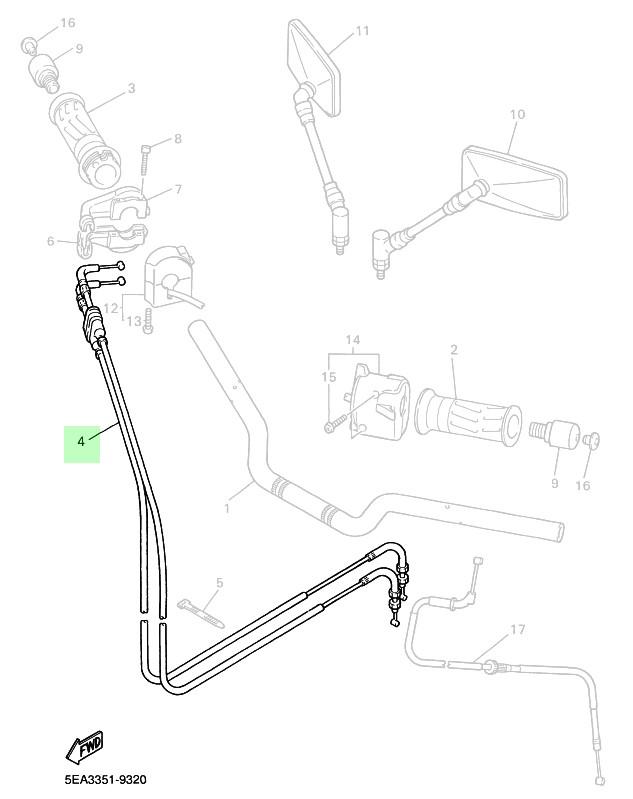 Yamaha XJR 1300 (07-) - Plynová lanka