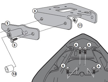 Honda CBR 600 F (11-) kit pro samostatnou montáž nosiče bočních