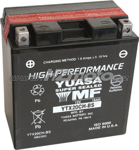 Motobaterie Yuasa YTX20CH-BS 12V 18Ah (náhrada za YTX20A-BS 17Ah