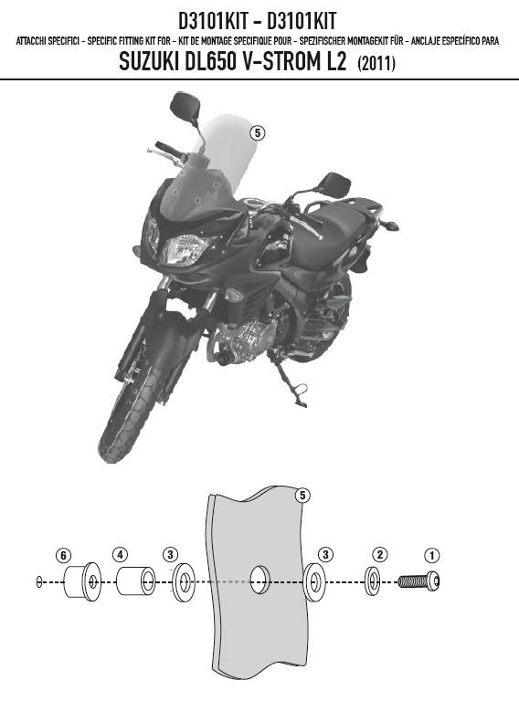 Suzuki DL 650 V-Strom (11-16) - kit pro montáž plexi 3101DT