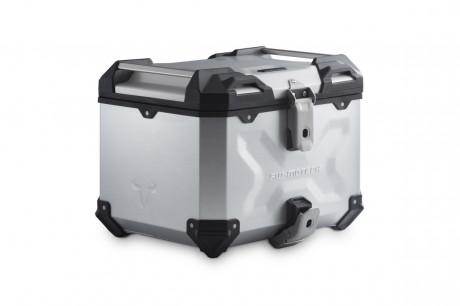 Hliníkový, roboticky svařovaný kufr TRAX Adventure 38 litrů, stříbrný, top box