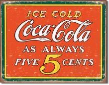 COKE - Always 5 Cents - plechová cedule, 40x32 cm