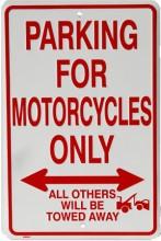 Motorcycles Parking Only - plechová cedule, 20x30 cm