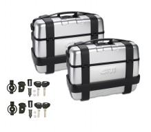 2 ks kufrů Givi TRK33N Trekker se stříbrným hliníkovým krytem víka (Monokey), objem 2x33 ltr.