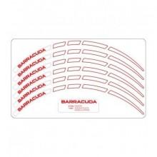 """Proužky na ráfek Barracuda, bílé s červeným nápisem 17/17"""""""