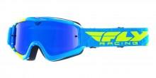 Brýle Zone RS, Fly Racing - USA (modré, žluté fluo, zrcadlové modré plexi s čepy pro slídy)