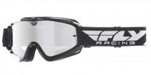 Brýle Zone RS, Fly Racing - USA (černá, bílá, zrcadlové plexi s čepy pro slídy)