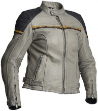 Kožená motocyklová bunda Halvarssons EAGLE LADY - černá/šedá/žlutá