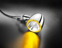 Blinkr / poziční světlo žluté Bullet 1000® PL Kellermann - chromové tělo, čiré sklo