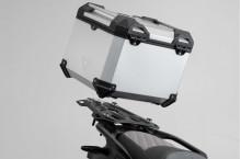 Moto Guzzi V85 TT (19-) - Sada horního nosiče s kufrem TRAX Adventure, SW-Motech Stříbrný kufr