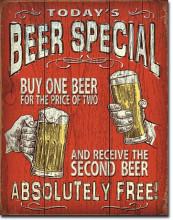 Today's Beer Special - plechová retro cedule 40x32 cm Pivní speciál - zaplať jedno pivo za cenu dvou a druhé dostaneš zdarma.