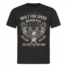 Pánské tričko Built For Speed Motorcycle černé