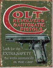 Colt Extra Safety - plechová cedule, 40x32 cm